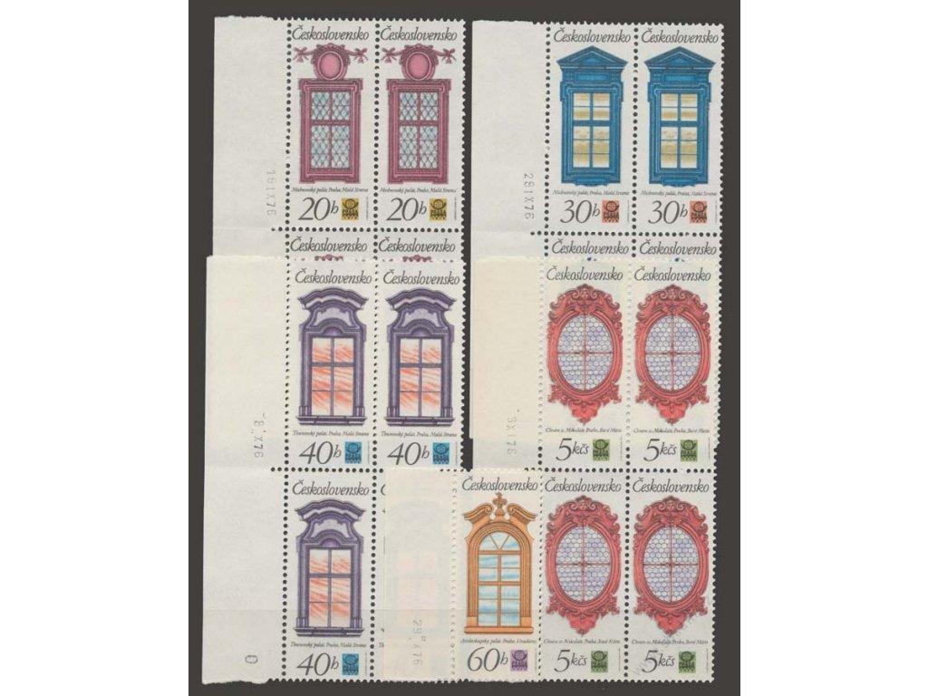 1977, 20h-5Kčs Okna, 4bloky, data tisku, Nr.2240-44, **