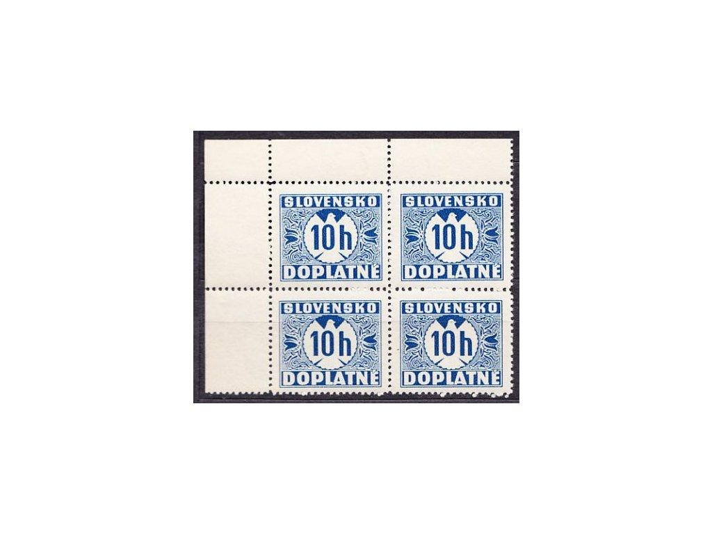 1939, 10h modrá, hladký lep, levý horní rohový 4blok, Nr.D2, **