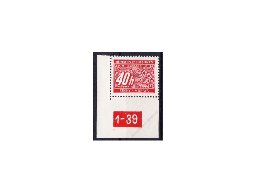 40h červená, levý roh. kus s DČ1-39, varianta Y, Nr.DL5, **