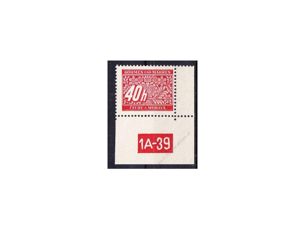 40h červená, pravý roh. kus s DČ1A-39, varianta X, Nr.DL5, **