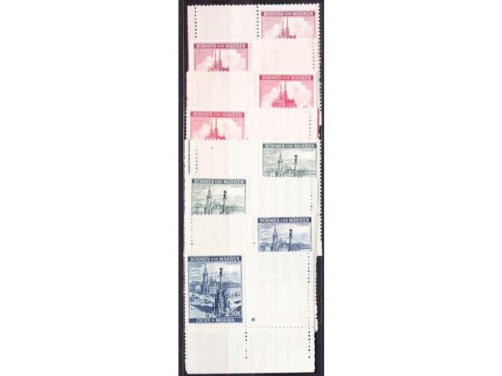 A-1939, 1.20-2.50K Krajinky, levý a pravý kupon s okrajem, varianta křížek, Nr.32-5, **