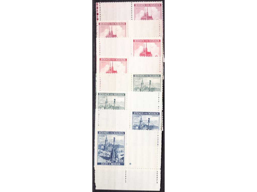 A-1939, 1.20-2.50K Krajinky, levý a pravý kupon s okrajem, varianta hvězdička, Nr.32-5, **