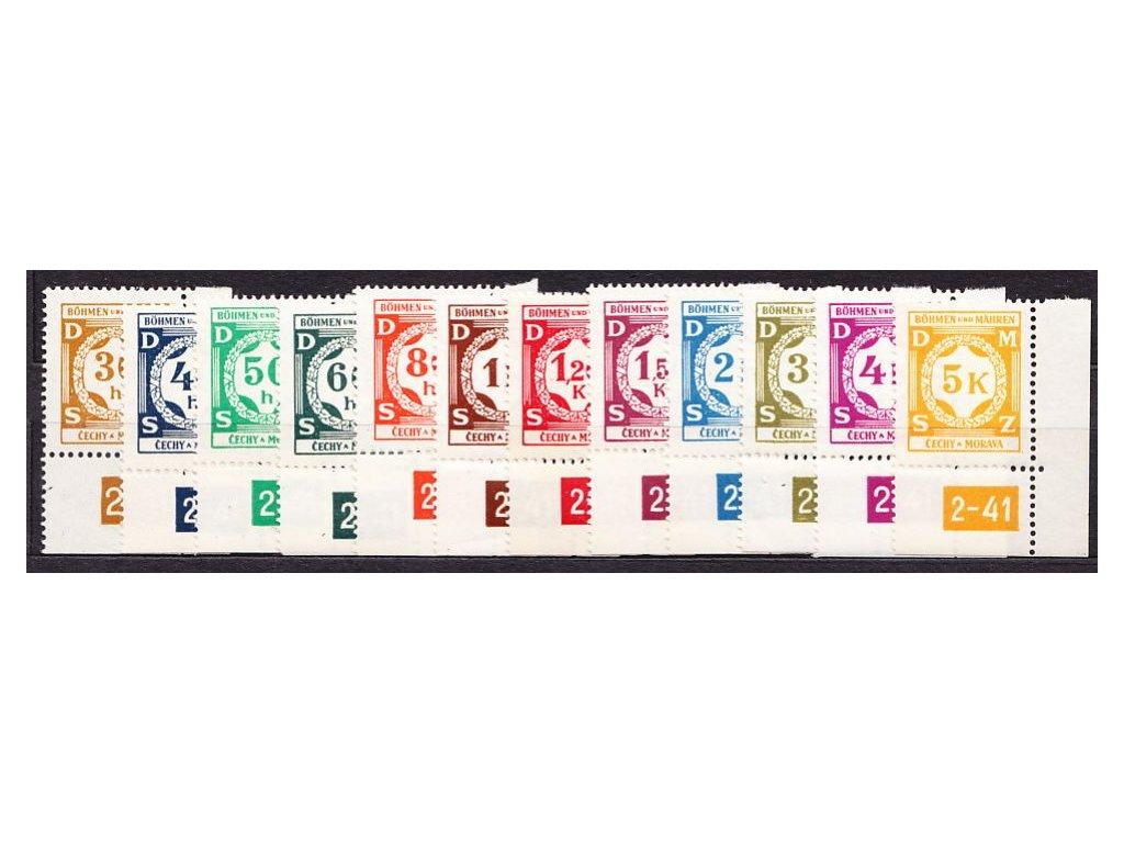 1941, 30h-5K série, pravé roh. kusy s DČ 2-41, Nr.SL1-12, **