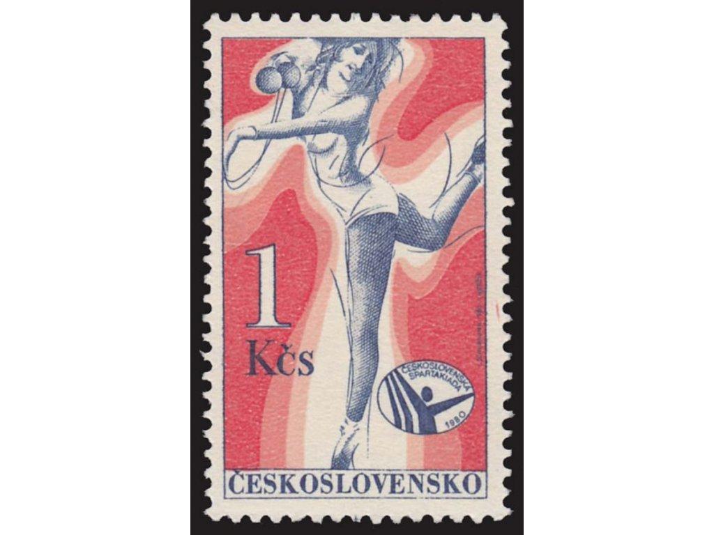 1980, 1Kčs Spartakiáda, VV - čárka v pravém okraji, Nr.2444, **