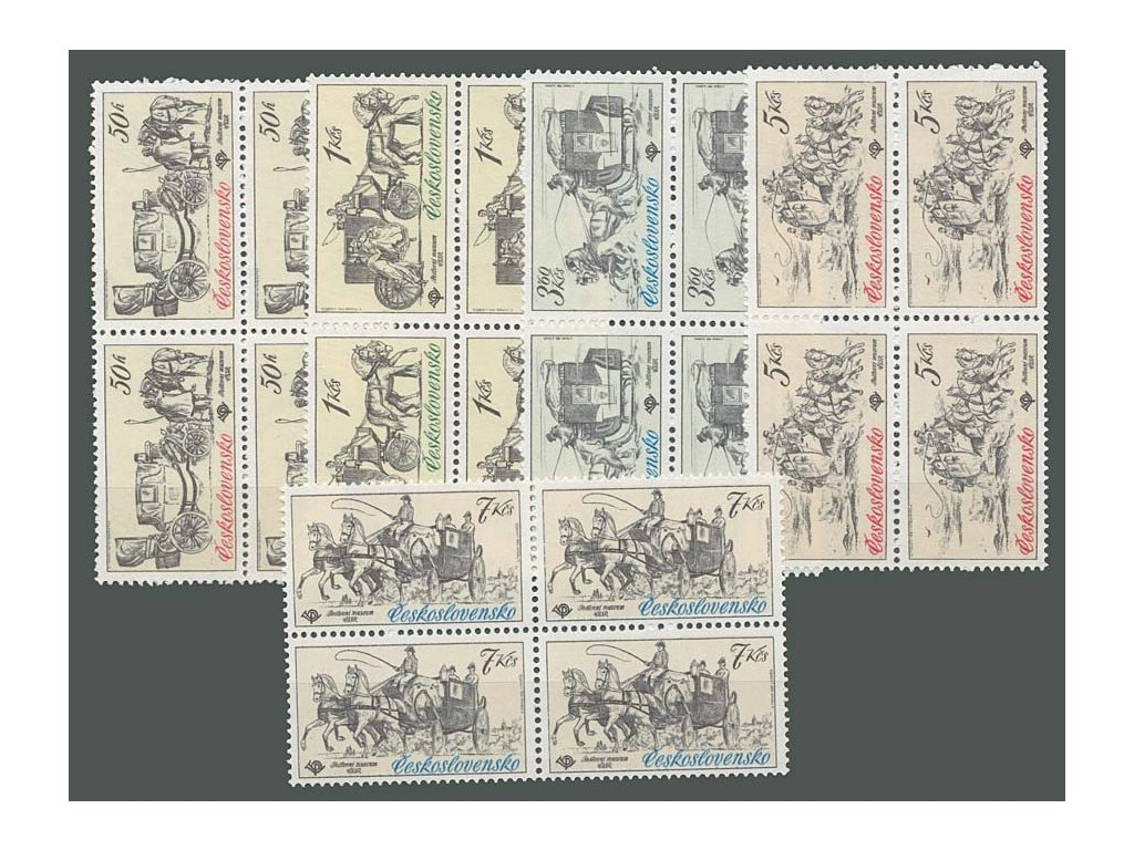 1981, 50h-7Kčs Poštovní vozy, 4bloky, **
