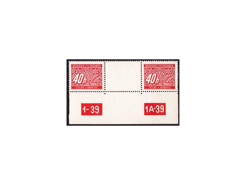 40h červená, 2známkové meziarší s DČ 1-39 1A-39, Nr.DL5, **