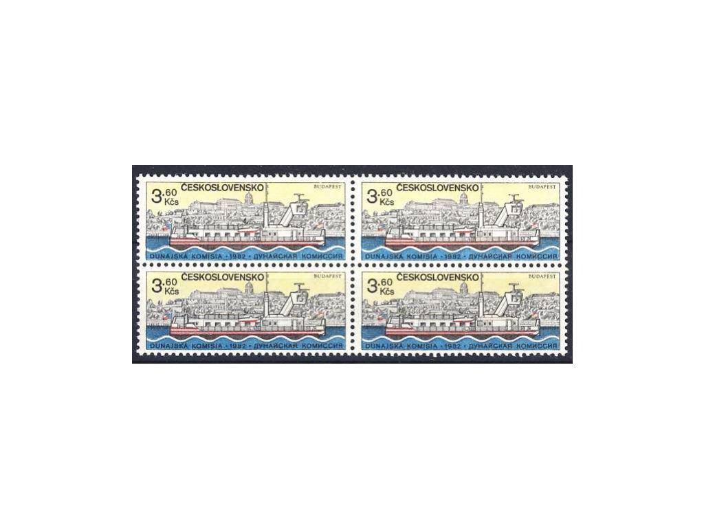 1982, 3.60Kčs Dunaj, papír fl2, 4blok, Nr.2552yb, **