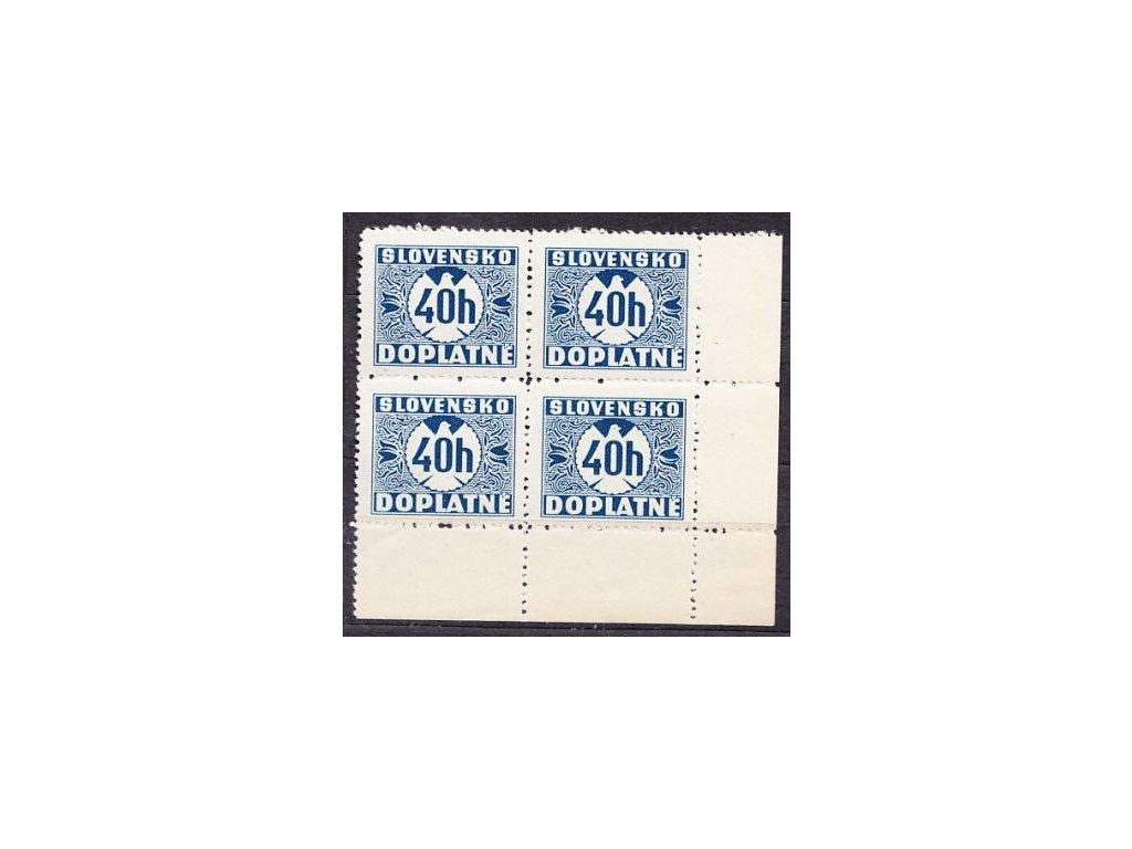 1939, 40h modrá, hladký lep, pravý dolní roh. 4blok, Nr.D5, **