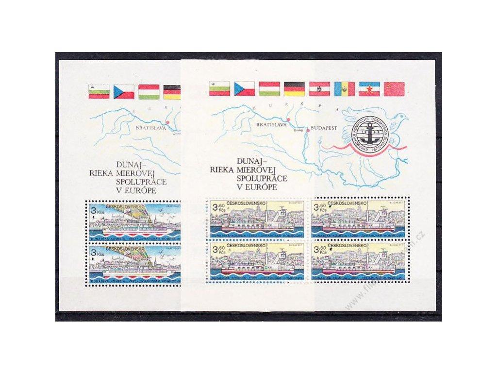 1982, 3-3.60Kčs aršík Dunaj, oba VZOR, **