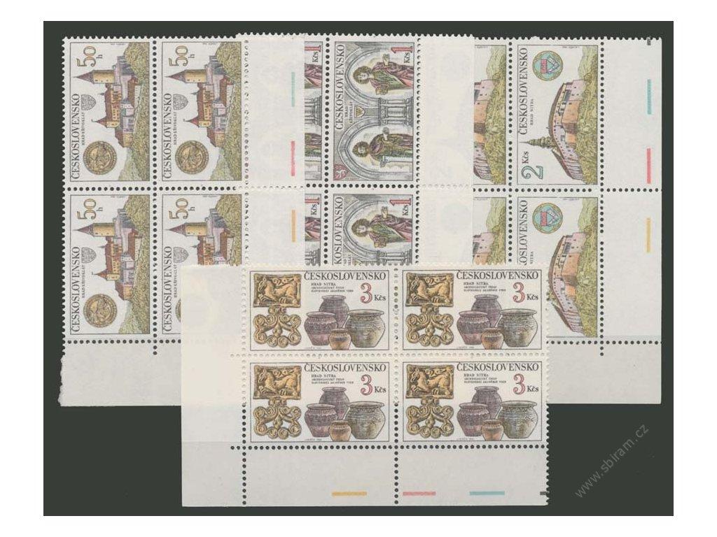 1982, 50h-3Kčs Hrady a zámky, roh. 4bloky, Nr.2545-48, **