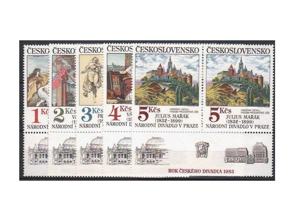 1983, 1-5Kčs Umění, 2pásky s dolním kuponem, Nr.K2616-20, **
