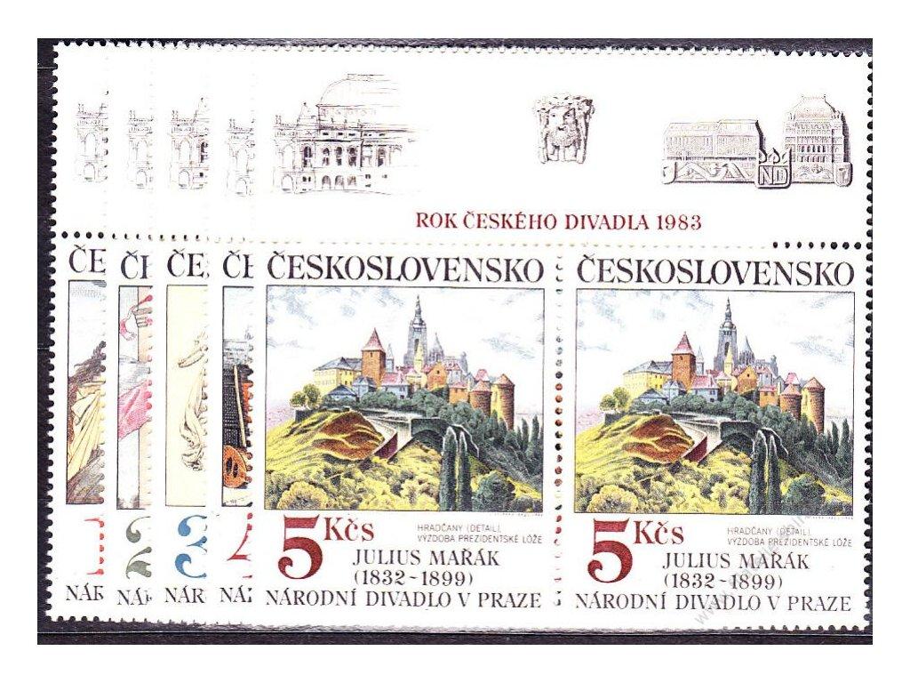1983, 1-5Kčs Umění, horní lupony, Nr.K2616-20, **