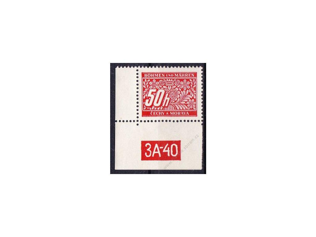 50h červená, levý roh. kus s DČ 3A-40, varianta X, Nr.DL6, **