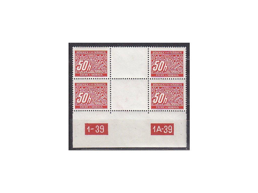50h červená, 2páska meziarší s DČ 1-39 1A-39, Nr.DL6, **