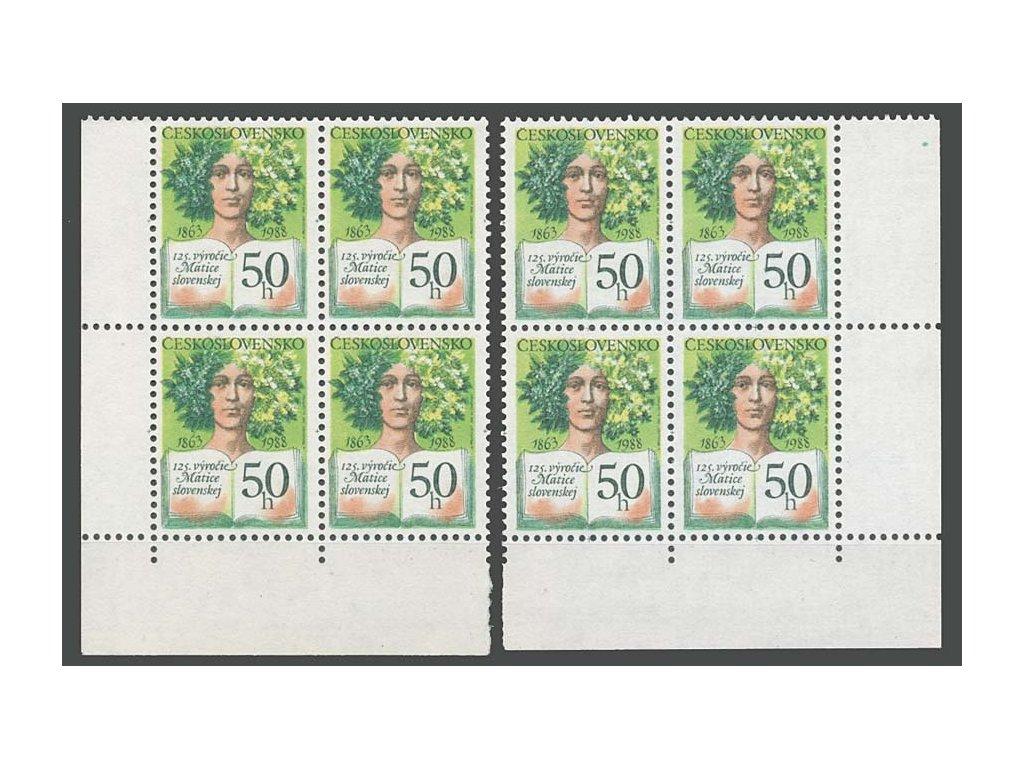 1988, 50h Matice slovenská, rohové 4bloky, **