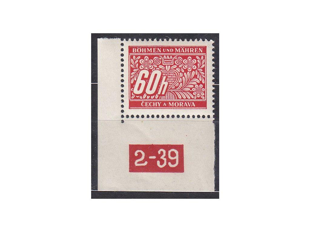 60h červená, rohový kus s DČ 2-39, varianta Y, Nr.DL7, **