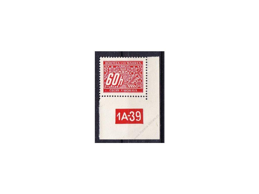 60h červená, pravý roh. kus s DČ 1A-39, varianta Y, Nr.DL7, **