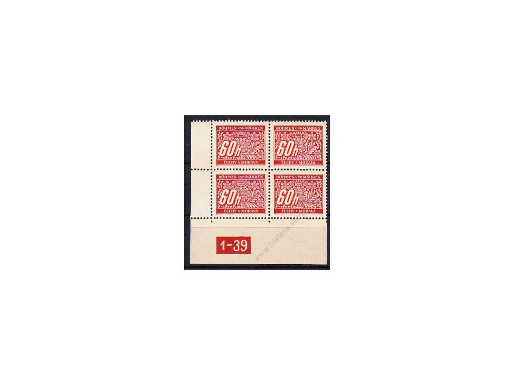 60h červená, levý roh. 4blok s DČ 1-39, varianta X, Nr.DL7, **