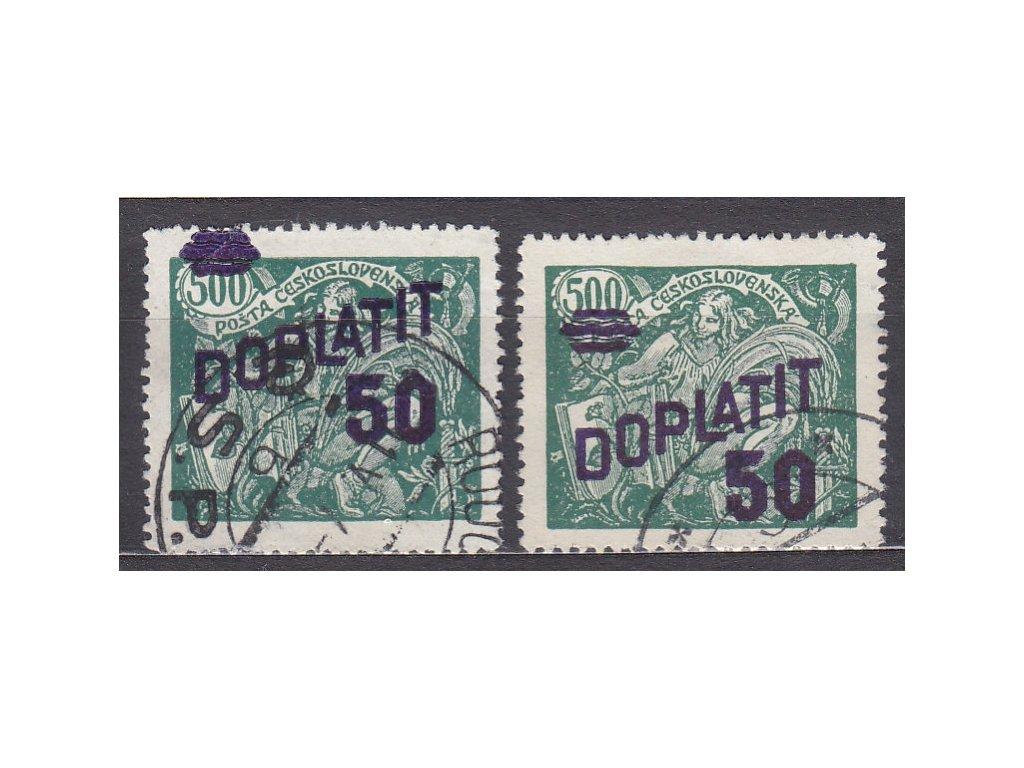 1926, 50/500h zelená, 2 ks - posuny přetisku mimo hodnotu, Nr.DL45, razítkované