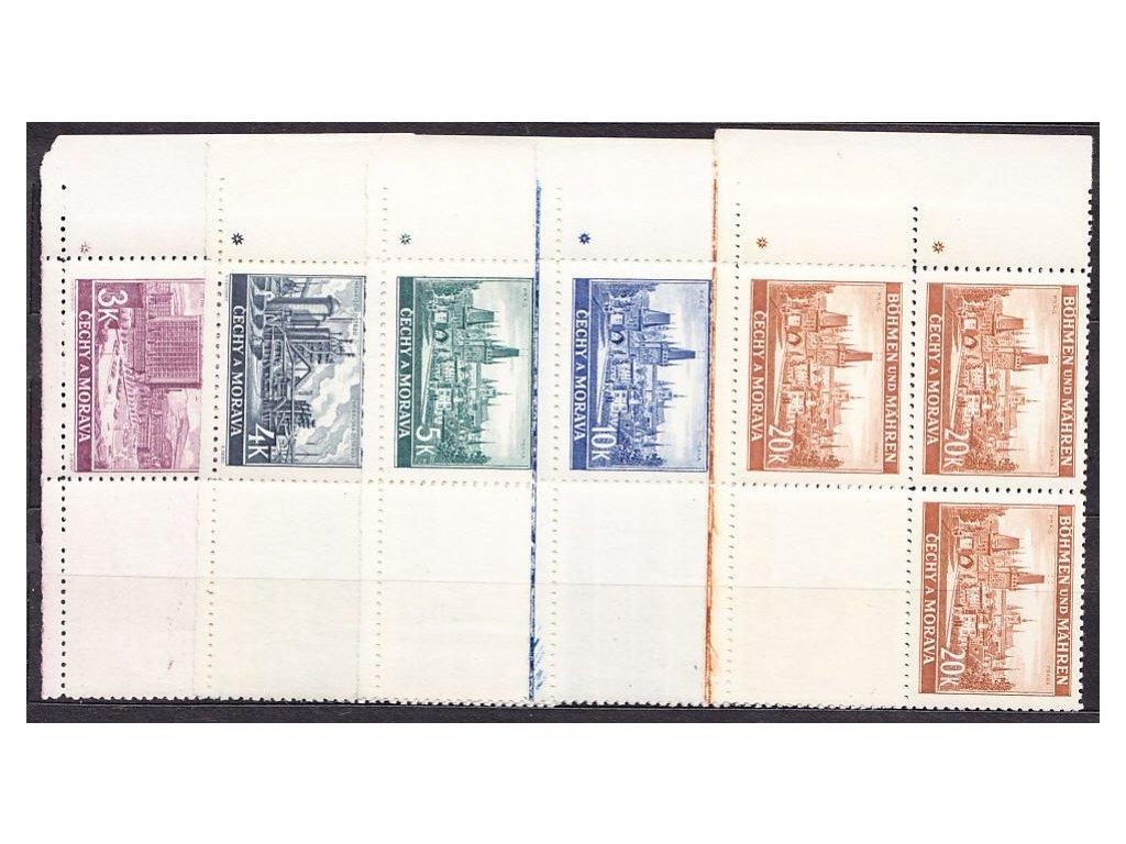 1939, 3-20K Města, levé dolní roh.4bloky, varianta křížek, Nr.36-40, **