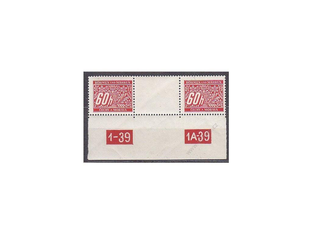 60h červená, meziarší s DČ1-39-1A-39, Nr.DL7, **
