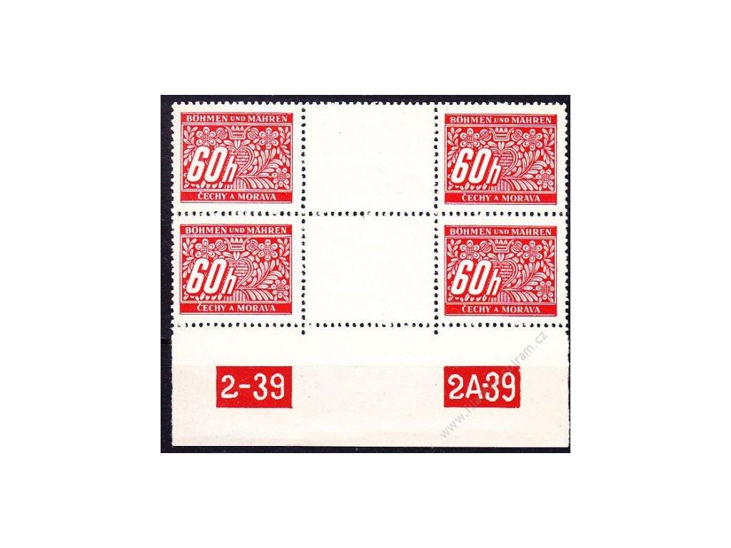 60h červená, 2známkové meziarší s DČ 2-39 2A-39