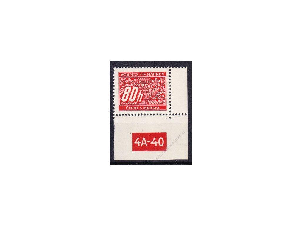 80h červená, pravý roh. kus s DČ 4A-40, varianta X, Nr.DL8, **