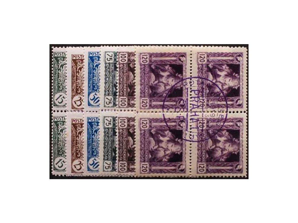 15-120h série, 4bloky, fialové nátisky, kruh, Nr.27-32, **/*