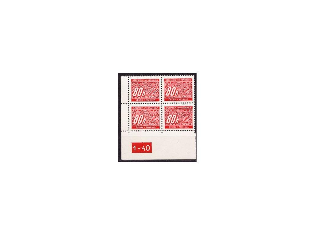80h červená, roh.4blok s DČ 1-40, varianta X, Nr.DL8, **