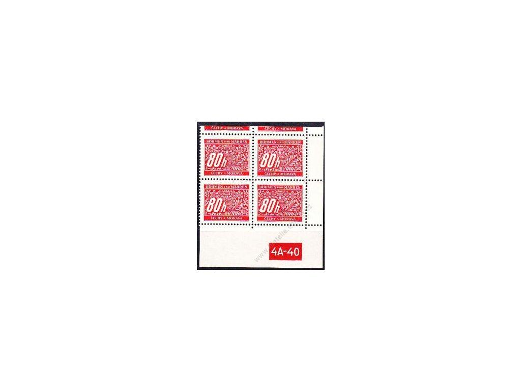 80h červená, pravý roh. 4blok s DČ 4A-40 s horním okrajem, varianta X, Nr.DL8, **