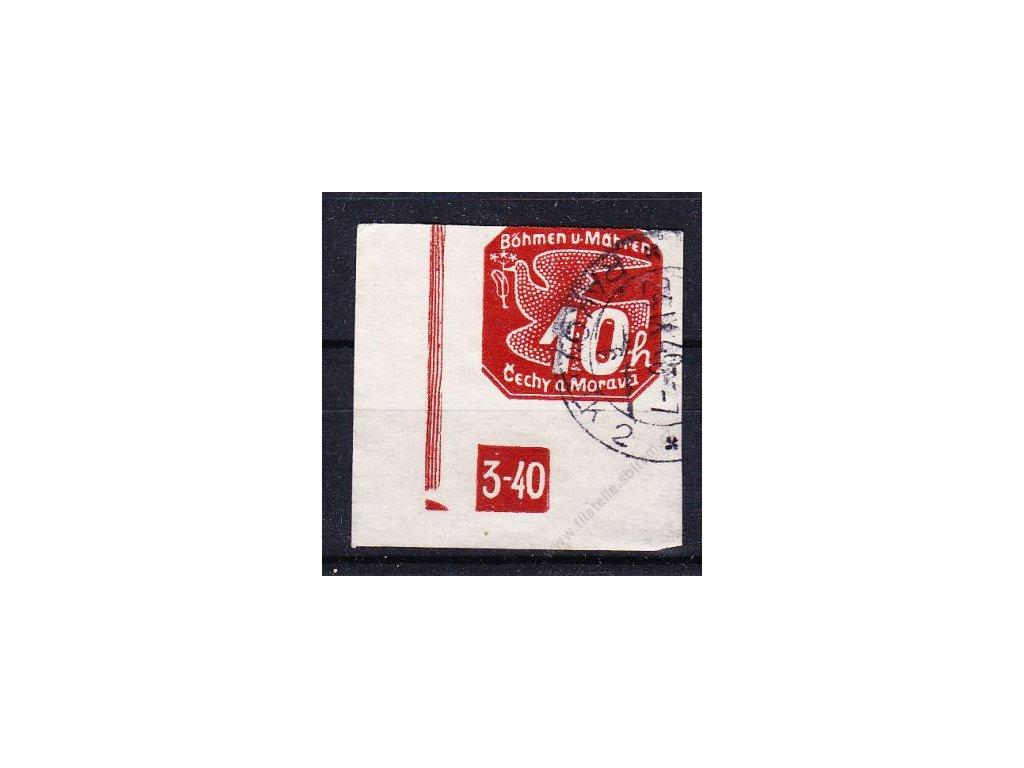 1939, 10h červená, roh. kus s DČ 3-4%, zakončení trojúhelník, těsný střih nahoře, Nr.NV5, ra