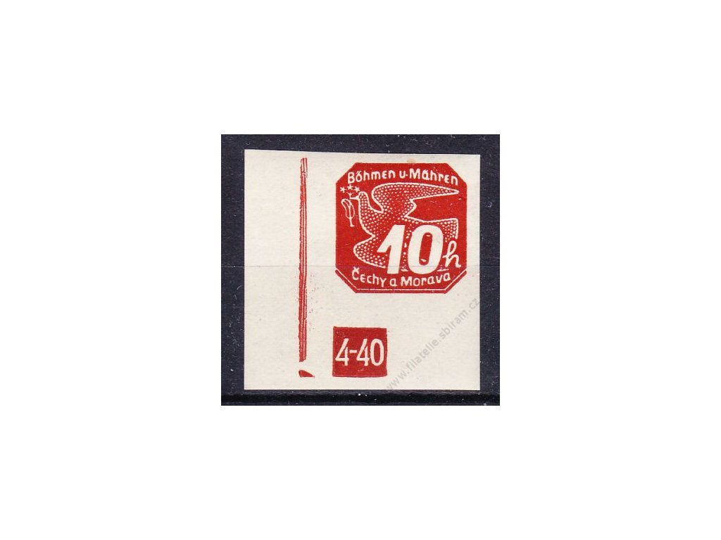 10h červená, roh. kus s DČ 4-40, zakončení trojúhelník, Nr.NV5, **