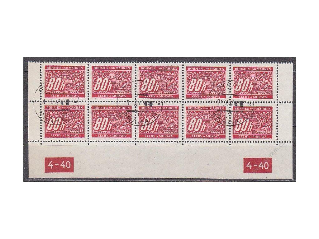 80h červená, 10blok s DČ 4-40, X-X, Nr.DL8, razítkované
