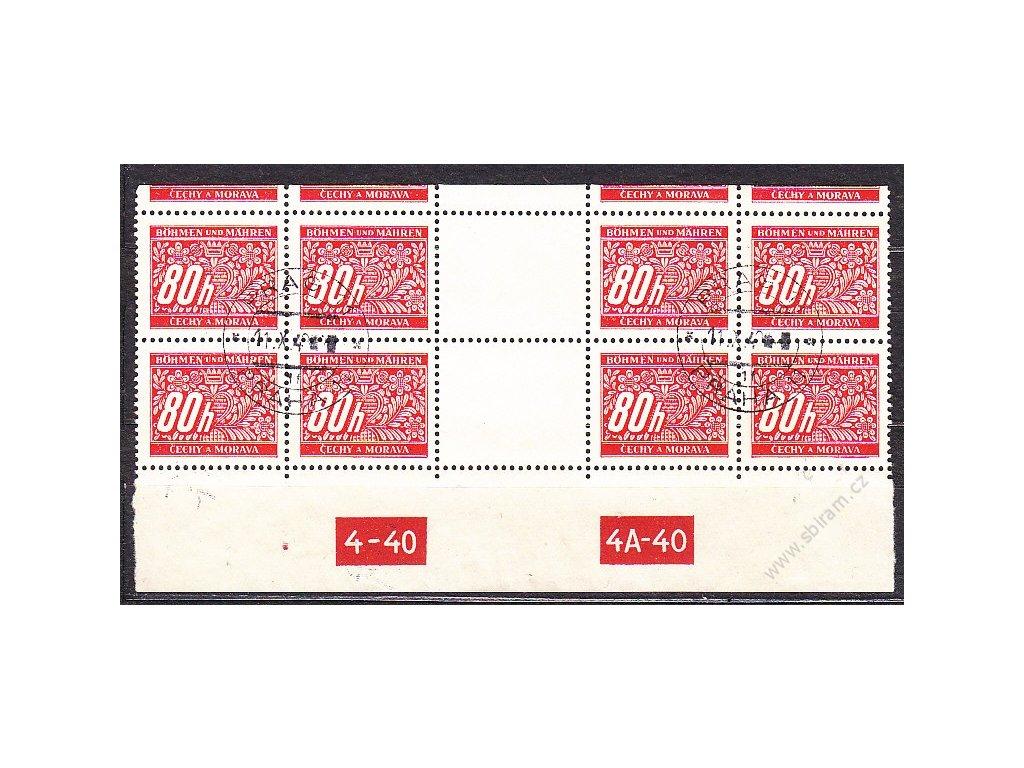 80h červená, 4známkové meziarší s DČ 4-40 4A-40, horní okraj, Nr.DL8, razítkované, ilustračn