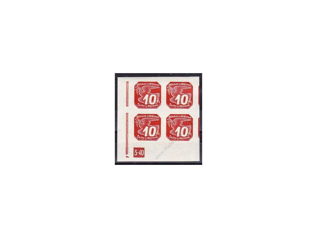 10h červená, roh. 4blok s DČ 3-40 - zakončení trojúhelník, Nr.NV5, **
