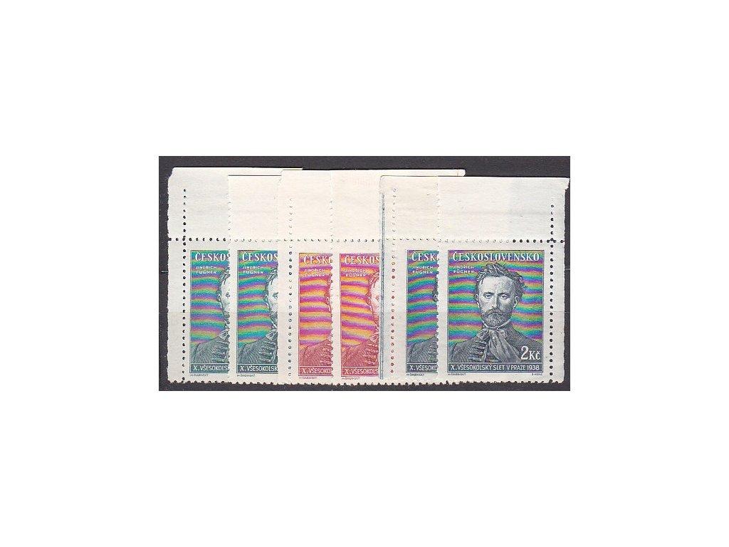 1938, 50h-2Kčs Fugner, horní rohové kusy, L+P, Nr.339-341, **