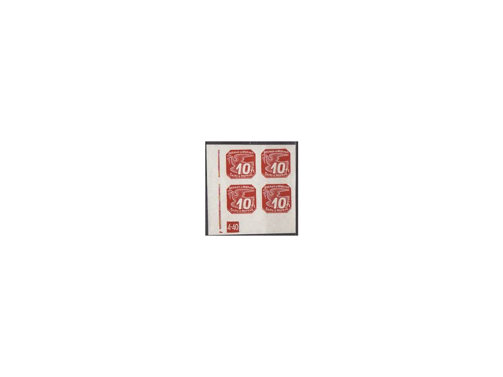 1939, 10h červená, roh.4blok s DČ 4-40 - zakončení trojúhelníkem, Nr.NV5, **