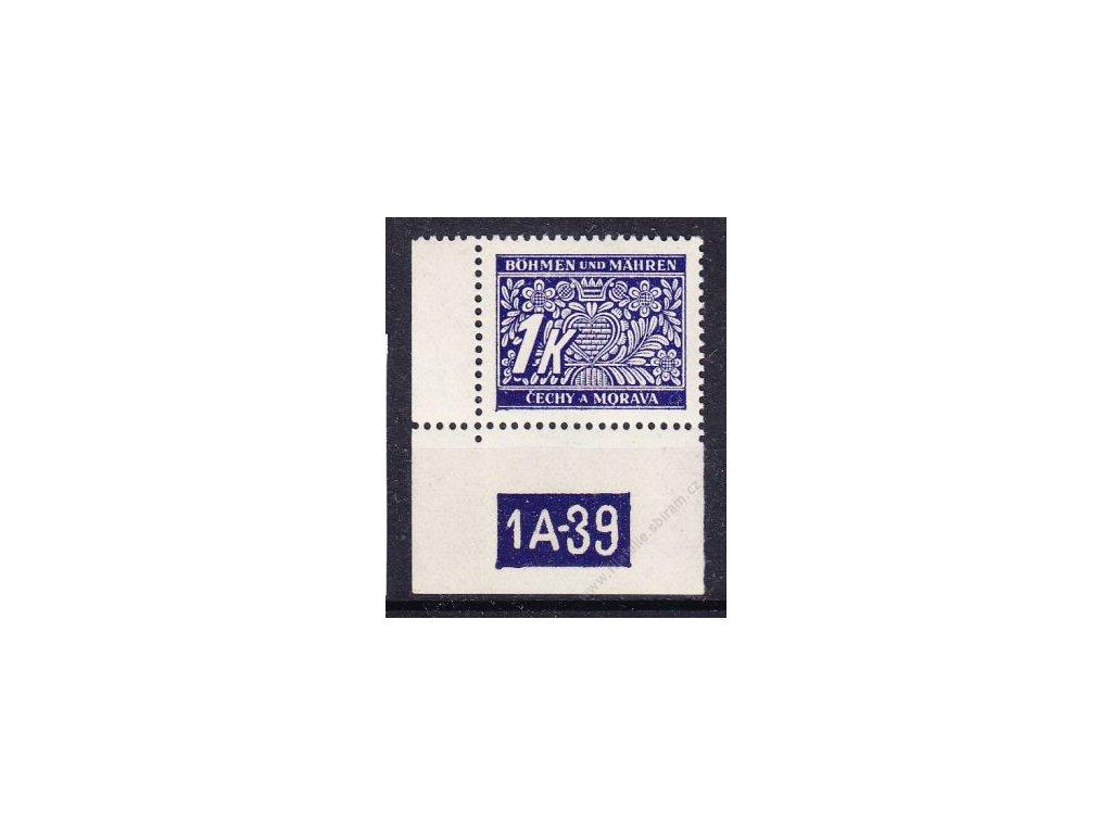 1K modrá, levý roh. kus s DČ 1A-39, varianta X, Nr.DL9, **