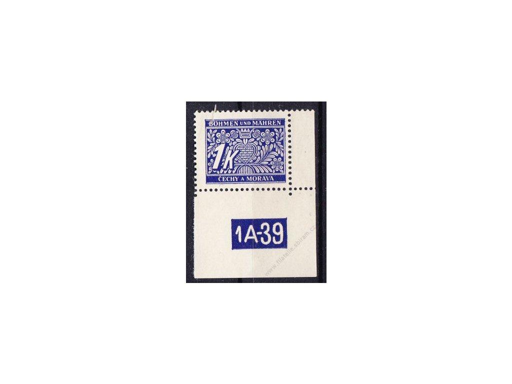 1K modrá, pravý roh. kus s DČ 1A-39, varianta X, Nr.DL9, **