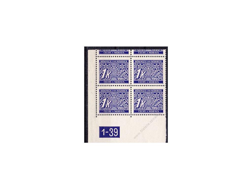 1K modrá, levý roh. 4blok s okrajem s DČ1-39, varianta Y, Nr.DL9, **/*
