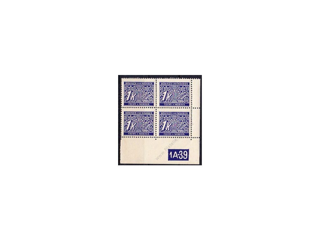 1K modrá, roh.4blok s DČ 1A-39, varianta X, Nr.DL9, **