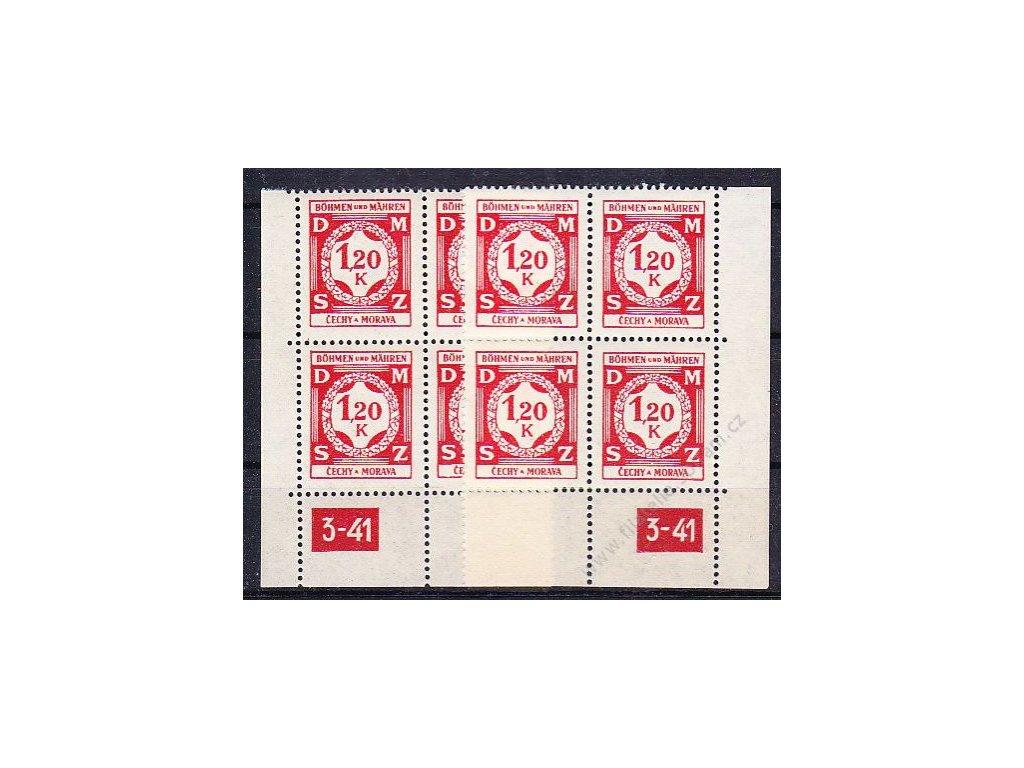 1941, 1.20K červená, roh. 4blok s DČ 3-41, L+P, Nr.SL7, **