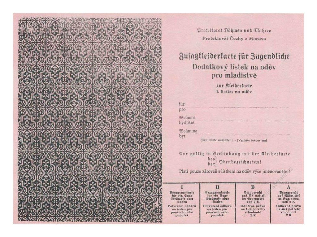 Dodatkový lístek na oděv pro mladistvé z roku 1940