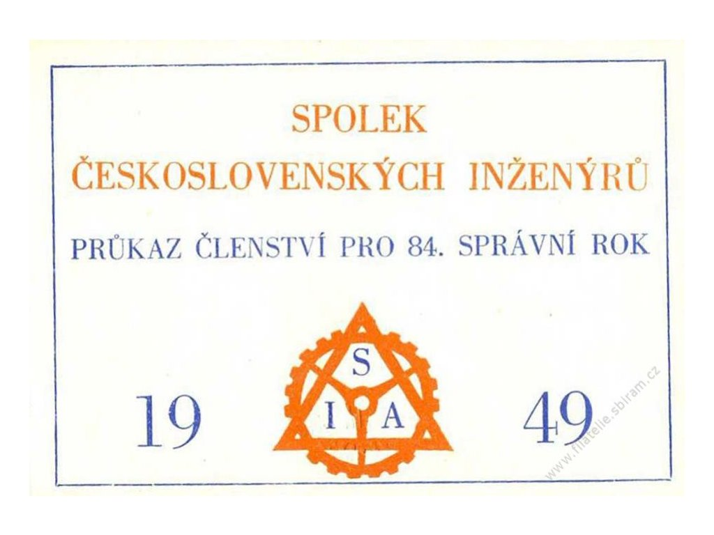 Spolek čs. inženýrů, 1949, kartičková průkazka