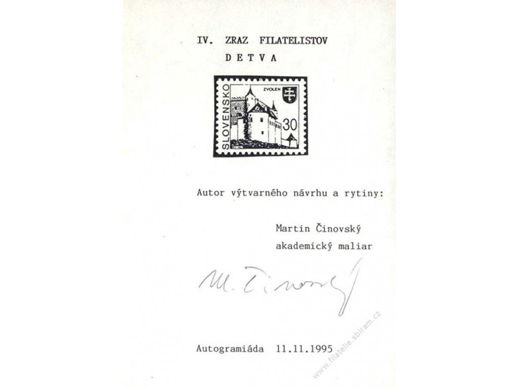 Čínovský, podpis na pamětním lístku z roku 1995