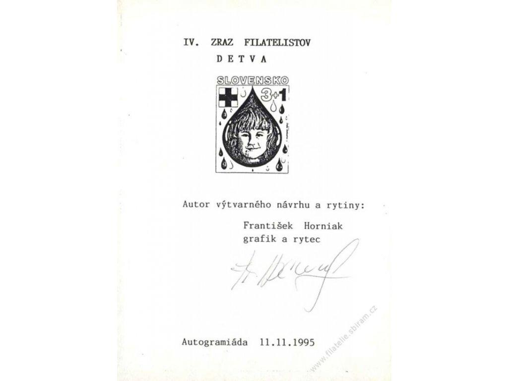 Horniak, podpis na pamětním lístku z roku 1995
