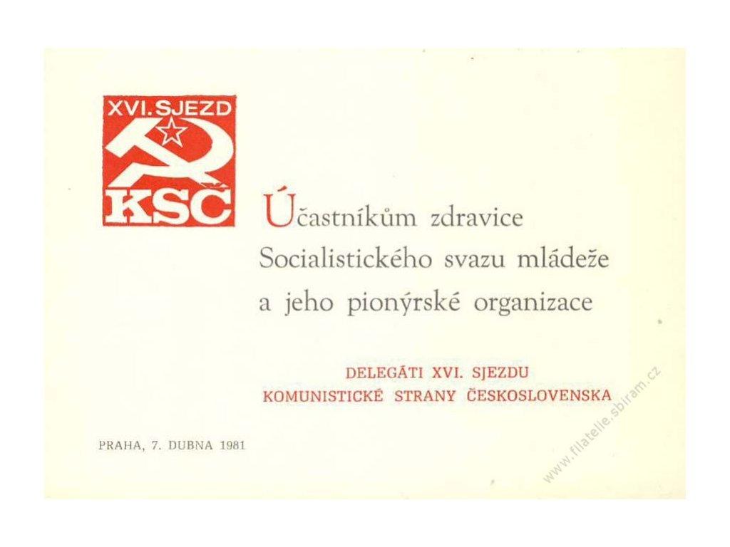 Pamětní lístek Účastníkům zdravice, Praha 1981