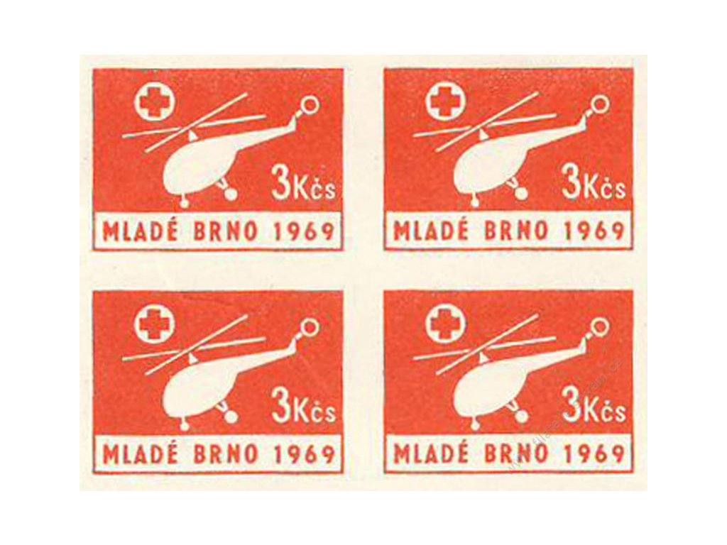 1969, Mladé Brno 3Kčs, letecká nálepka, **
