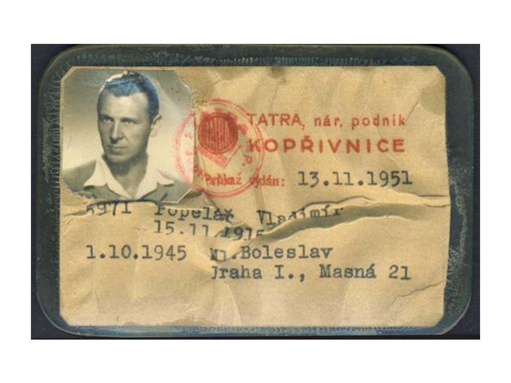 Tatra Kopřivnice, podniková průkazka, 1951
