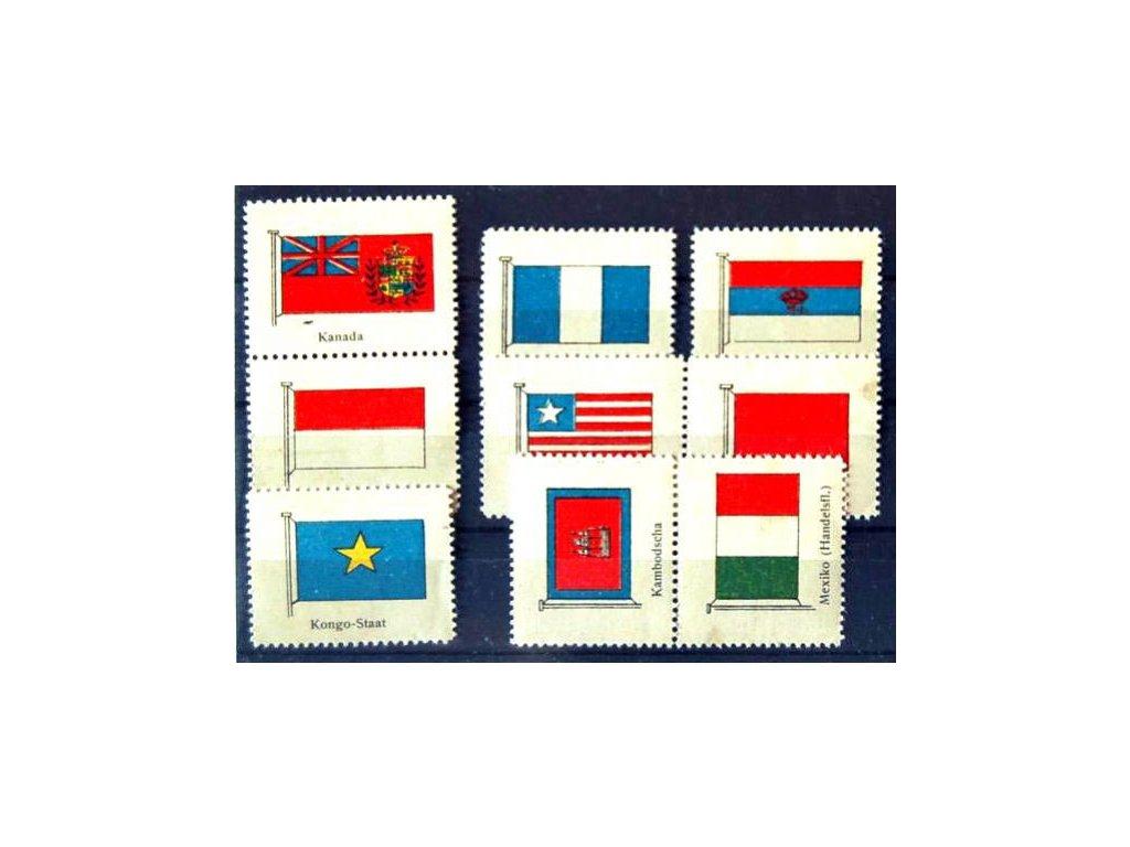 Vlajky, 9 ks nálepek, ** , 1x *